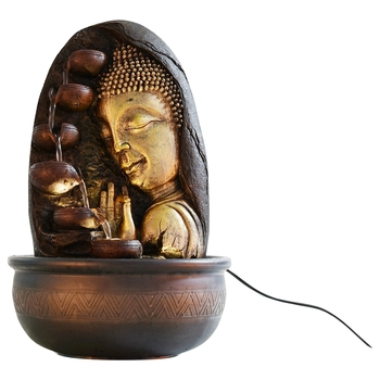 Oval Textured Lord Buddha Water Fountain