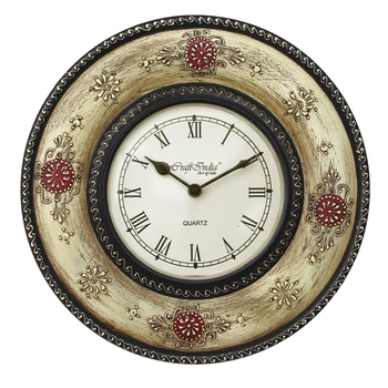 Ethnic Design Handcrafted Wooden Wall Clock