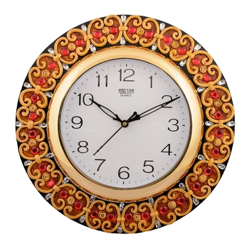 Wooden Papier Mache Embossed Red Crystal Handcrafted Wall Clock