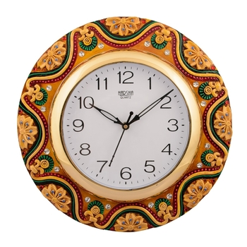 Wooden Papier Mache Dazzling Handcrafted Wall Clock