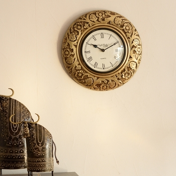 Decorative Brass Work Ethnic Brass and Wooden Handcrafted Wall Clock