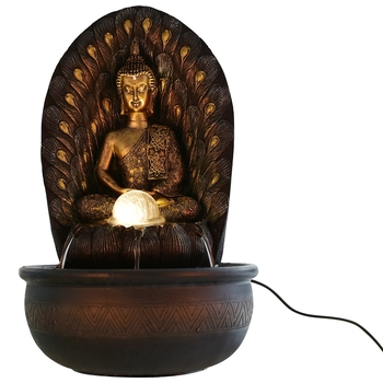 Lord Buddha Leaf Textured Water Fountain