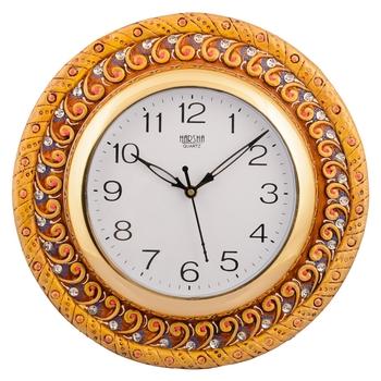 Wooden Papier Mache Elegant Handcrafted Wall Clock