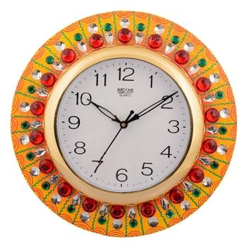 Wooden Papier Mache Embossed Crystals Handcrafted Wall Clock