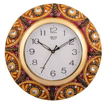 Wooden Papier Mache Splendid Artistic Handcrafted Wall Clock