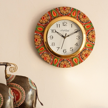 Crystal Studded Embellish Papier-Mache Wooden Handcrafted Wall Clock