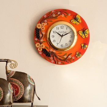 Butterfuly and Garden View Papier-Mache Wooden Handcrafted Wall Clock