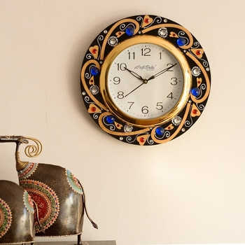 Blue Crystal Studded Decorative Wooden Handcrafted Wall Clock