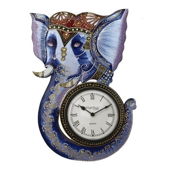 Lord Ganesha and Elephant Design Handcrafted Premium Wooden Wall Clock