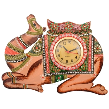 Wooden Papier Mache Camel Handcrafted Wall Clock
