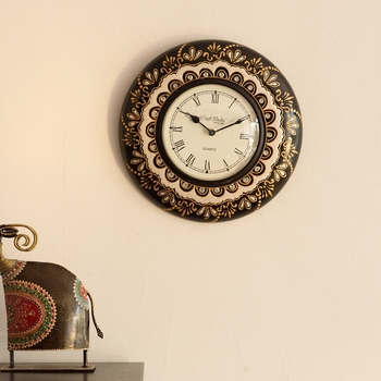 Decorative Floral Ethnic Wooden Handcrafted Wall Clock