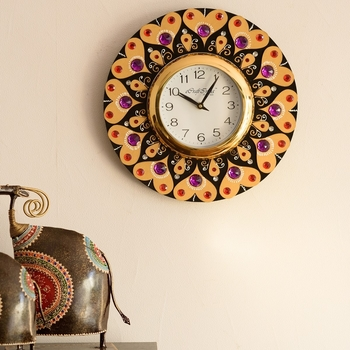Purple and Red Crystal on Adorning Heart Wooden Handcrafted Wall Clock