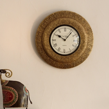 Decorative Brass Work Ethnic Wooden Handcrafted Wall Clock