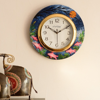 Underwater Life View with Embossed Fishes Wooden Handcrafted Wall Clock