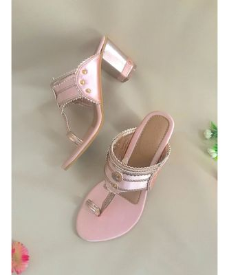 pink leather kolhapuris sandals