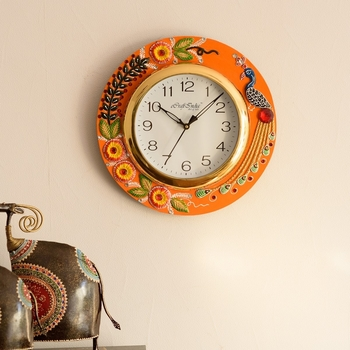 Embossed Peocock and Flowers Papier-Mache Wooden Handcrafted Wall Clock