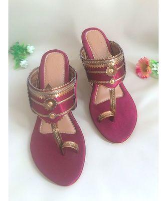 maroon leather kolhapuris sandals