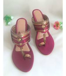 maroon leather kolhapuris sandals
