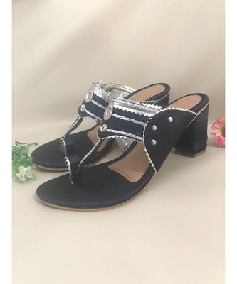 blue leather kolhapuris sandals