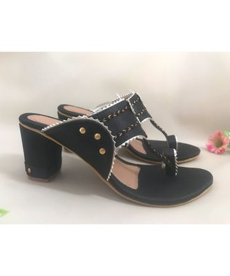 black leather kolhapuris sandals