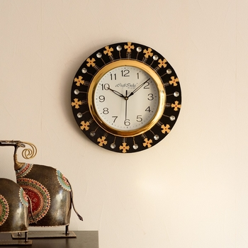 Crystal and Geometric Blocks Studded Black Wooden Handcrafted Wall Clock