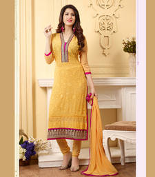 Buy Yellow embroidered cotton semi stitched salwar with dupatta party-wear-salwar-kameez online