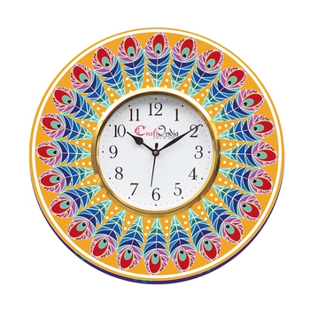 Ethnic Feather Design Wooden Colorful Round Wall Clock