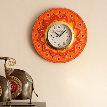 Crystal Studded Floral Shape Wooden Handcrafted Wall Clock