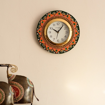 Crystal Studded Floral Shape Papier-Mache Wooden Handcrafted Wall Clock