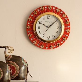 Crystal and Geometric Blocks Studded Red Wooden Handcrafted Wall Clock