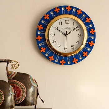Crystal and Geometric Blocks Studded Blue Wooden Handcrafted Wall Clock