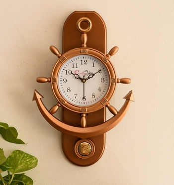 Decorative Retro Anchor Copper Pendulum Wall Clock