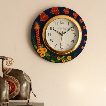 Love Hearts Series with Candle & Flower Embossed Papier-Mache Wooden Handcrafted Wall Clock