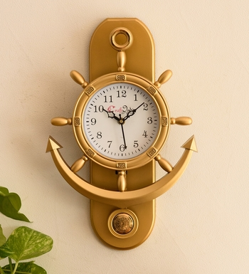Decorative Retro Anchor Golden Pendulum Wall Clock