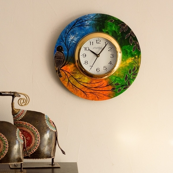 Beautiful & Colorful Senary View Wooden Handcrafted Wall Clock