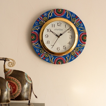 Colorful Floral Papier-Mache Wooden Handcrafted Wall Clock