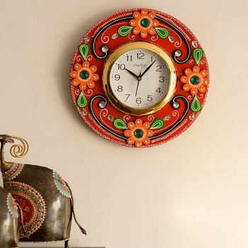 Crystal Studded Floral Papier-Mache Wooden Handcrafted Wall Clock
