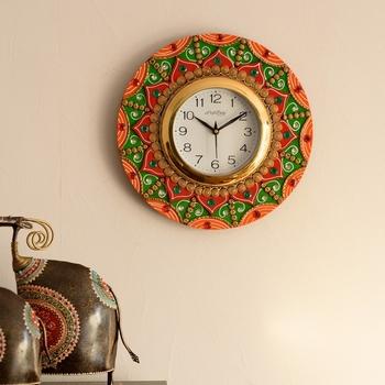 Decorative Papier-Mache Wooden Handcrafted Wall Clock