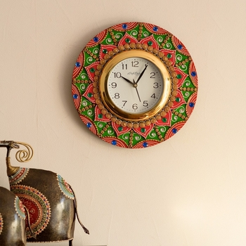 Exquisite Papier-Mache Wooden Handcrafted Wall Clock