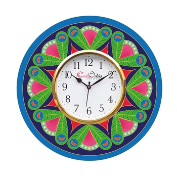 Ethnic Design Wooden Colorful Round Wall Clock