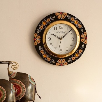 Yellow Crystal Studded Decorative Papier-Mache Wooden Handcrafted Wall Clock