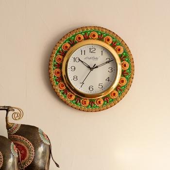 Traditional Design Papier-Mache Wooden Handcrafted Wall Clock
