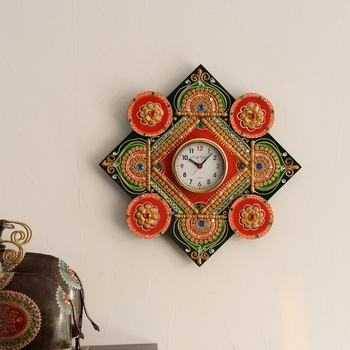 Designer and Colorful Papier-Mache Wooden Handcrafted Wall Clock