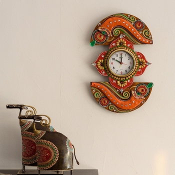 Shehnai Embossed Artistic Papier-Mache Wooden Handcrafted Wall Clock