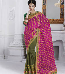 Buy Magenta embroidered jacquard saree with blouse party-wear-saree online