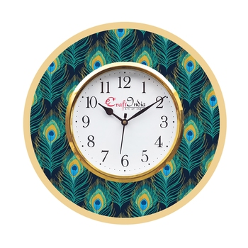 Ethnic Peocock Feather Design Wooden Colorful Round Wall Clock