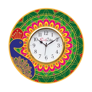 Ethnic Peocock Design Wooden Colorful Round Wall Clock