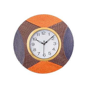 Decorative Handcrafted Orange Wooden Wall Clock