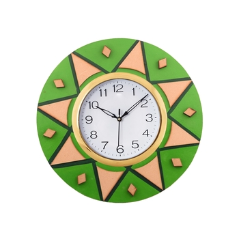 Decorative Handcrafted Orange Wooden Wall Clock