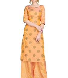 Orange printed art silk party-wear-kurtis